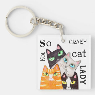 Cat Lady Funny Cute Art Typography Keychain