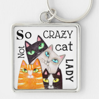 Cat Lady Funny Cute Art Typography Keychain 2