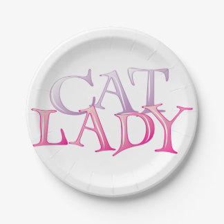 Cat Lady Paper Plates 7 Inch Paper Plate