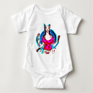 cat lady pop art baby bodysuit