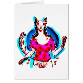 cat lady pop art greeting card