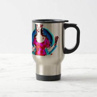 cat lady pop art travel mug