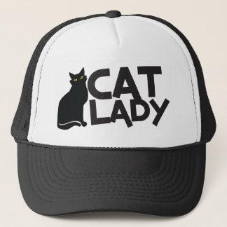 cat lady with slinky black cat yellow eyes trucker hat
