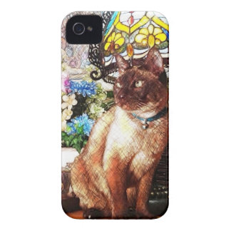 Cat & Lamp Sketch iPhone 4 Case