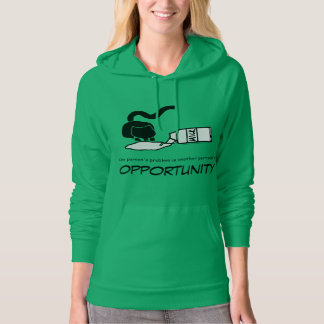 Cat Lapping Spilled Milk Opportunity Green Hoodie