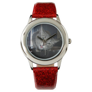 Cat,-Lapping-Water,_Girls_Red_Glitter_Watch. Watches