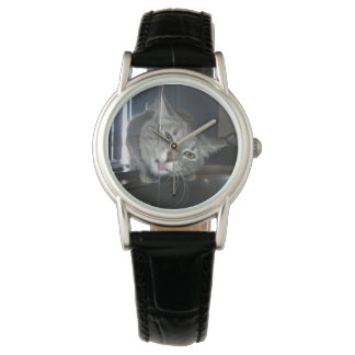 Cat,-Lapping-Water,_Ladies_Black_Leather_Watch. Wrist Watches