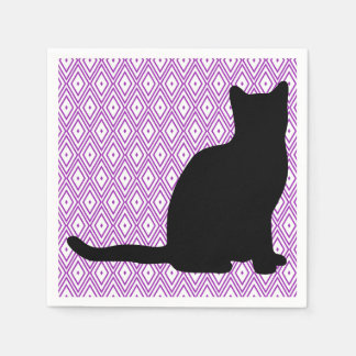 Cat Lavender and White Diamond Napkins