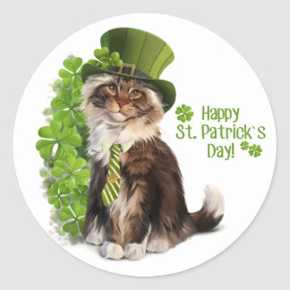 Cat-leprechaun Classic Round Sticker