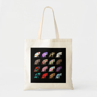 Cat Licking its Paw Aztec Floral Stripes Pattern Tote Bag