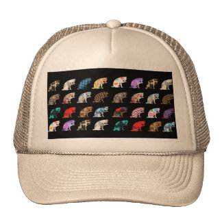 Cat Licking its Paw Aztec Floral Stripes Pattern Trucker Hat