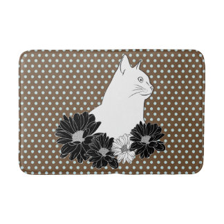 Cat line drawing with flowers, polka dots bath mat