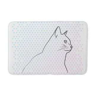 Cat line drawing with polka dots bath mat