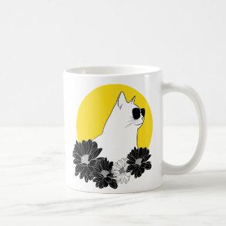 Cat line drawing with sunglass, sun and flowers coffee mug