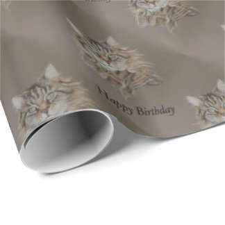 cat, longcoat tabby Happy Birthday Wrapping Paper