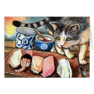 Cat Looking at Sushi Card
