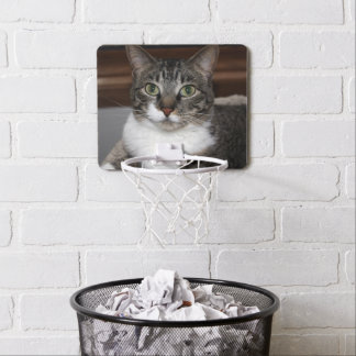 Cat Looking at You – Pet Tabby Cat Face Photo Mini Basketball Hoop