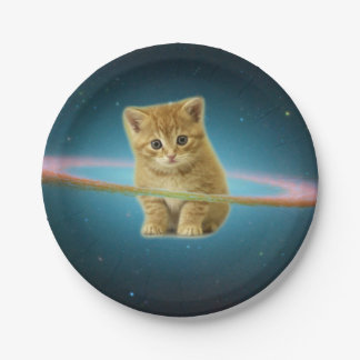 Cat lost in space 7 inch paper plate