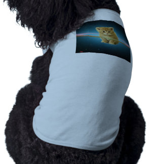 Cat lost in space dog tee shirt