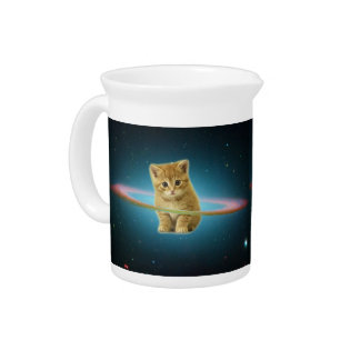 Cat lost in space drink pitcher