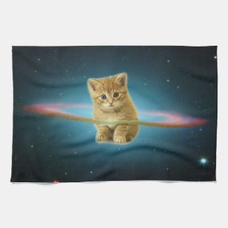 Cat lost in space hand towels