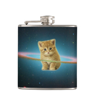 Cat lost in space hip flask