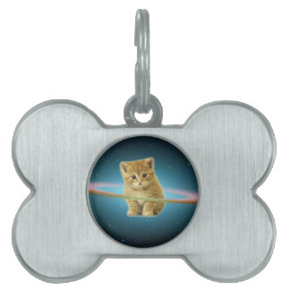 Cat lost in space pet tag