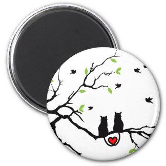 Cat Love 2 Inch Round Magnet