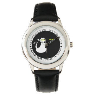 Cat Love Couple Minimal Cool Black White Contrast Watch