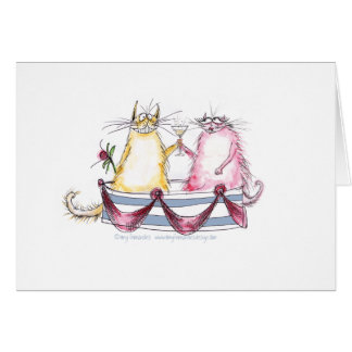 cat love - funny cartoon, tony fernandes greeting cards