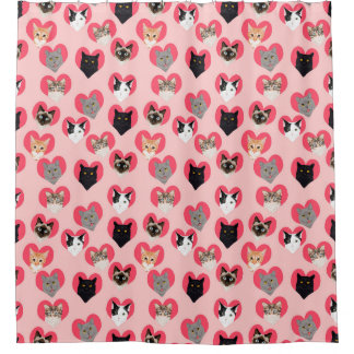 Cat Love Hearts shower curtain - cute cats