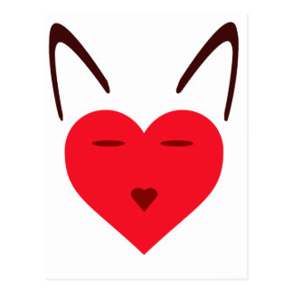 Cat Love Image Expressed With Heart Design Logo Postcard