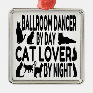 Cat Lover Ballroom Dancer Silver-Colored Square Ornament
