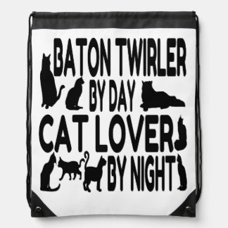 Cat Lover Baton Twirler Drawstring Bag
