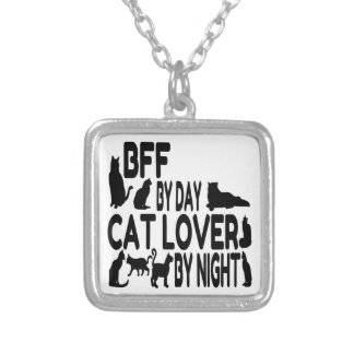 Cat Lover BFF Silver Plated Necklace