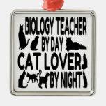 Cat Lover Biology Teacher Christmas Tree Ornaments