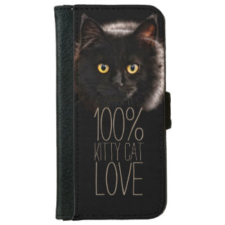 Cat Lover Black Cat Typography iPhone 6 Wallet Case