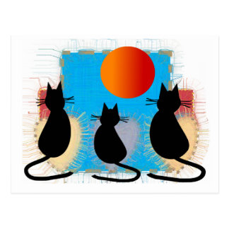 """Cat Lover """"Black Cats in the Window"""" Postcards"""