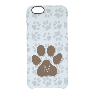 Cat Lover Blue and Brown Paw Prints Clear iPhone 6/6S Case