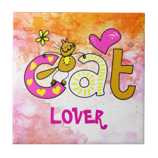 Cat Lover Cartoon Cuteness Ceramic Tile