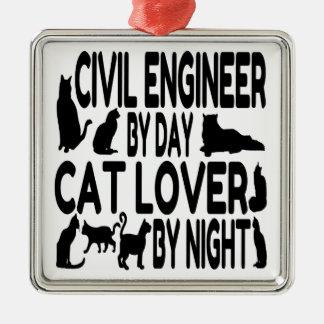 Cat Lover Civil Engineer Metal Ornament