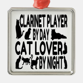 Cat Lover Clarinet Player Metal Ornament