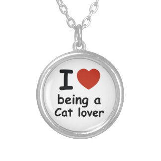 cat lover design silver plated necklace