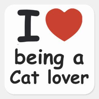 cat lover design square sticker