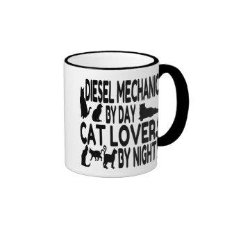 Cat Lover Diesel Mechanic Ringer Mug