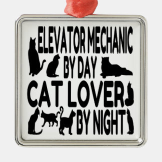 Cat Lover Elevator Mechanic Metal Ornament