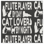 Cat Lover Flute Player Fabric