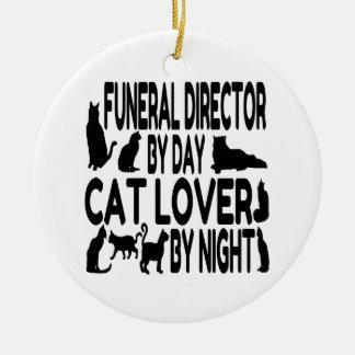 Cat Lover Funeral Director Round Ceramic Ornament