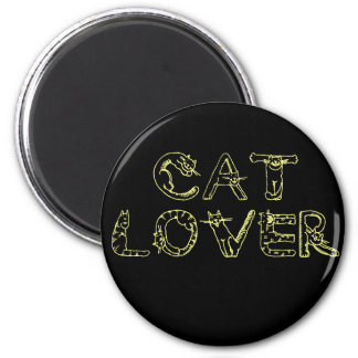 Cat Lover in Cat Font 2 Inch Round Magnet