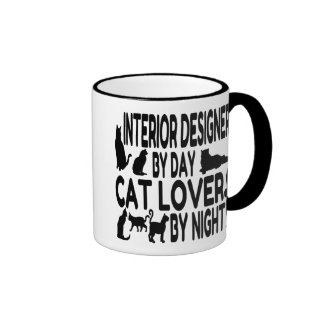 Cat Lover Interior Designer Ringer Coffee Mug